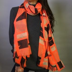 Neon Pink Geometric Patterned Scarf